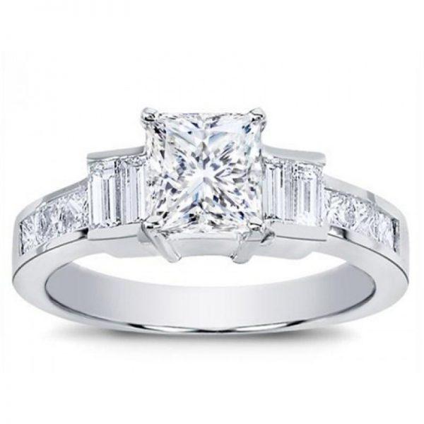 Princess Cut And Baguette Engagement