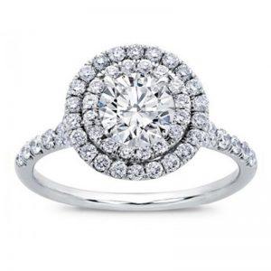 Round Double Halo Split Shank Diamond Ring