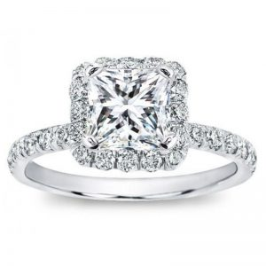French Cut Halo Setting For Square Diamond Ring
