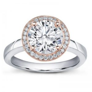 Pave Halo Engagement Setting For Round Diamond Ring