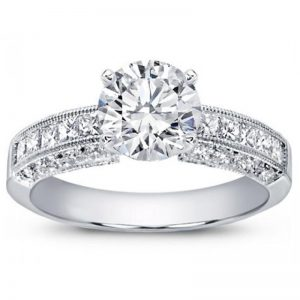 Pave And Princess Cut Diamond Setting Ring