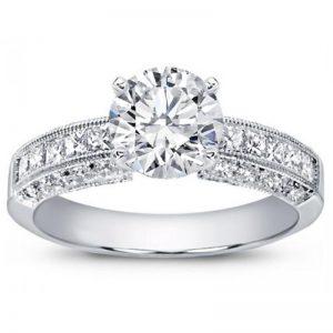 Pave And Princess Cut Diamond Setting Ring