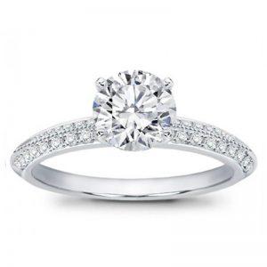 Pave Knife Edge Engagement Setting Ring