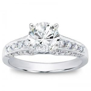 Pave Engagement Setting For Round Diamond Ring