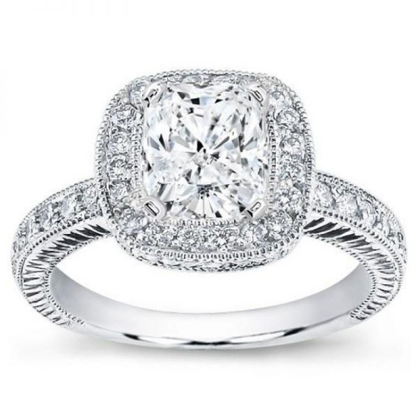 Hande Engraved Pave Halo Setting For Cushion Cut