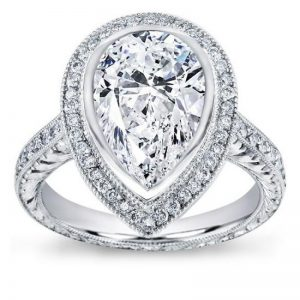 Pear Shaped Halo Pave & Filigree Setting