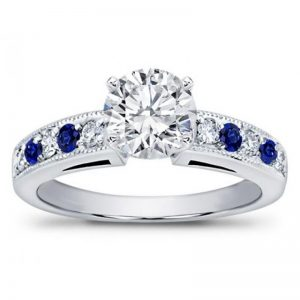 Milgrain And Pave Sapphire Engagement Setting
