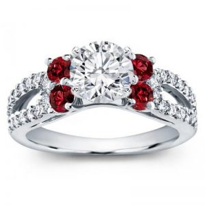 Ruby And Pave Split Shank Engagement Setting