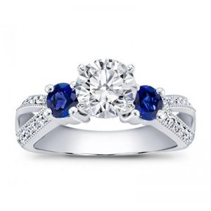 Sapphire Accented Pave Engagement Setting