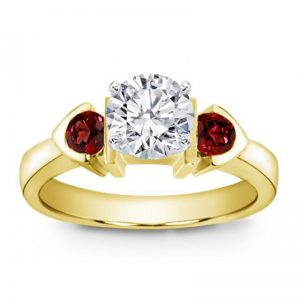 Ruby Accented Bezel Pave Engagement Setting