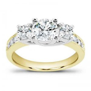 Round Diamond Three-Stone Engagement Setting
