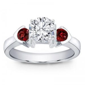 Ruby Accented Bezel Silver Engagement Setting