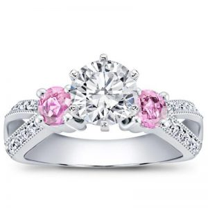 Pink Saphhire Accented Engagement Setting