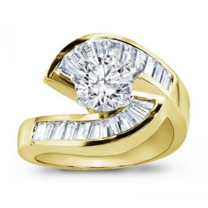 Gold Diamond Tension Engagement Setting