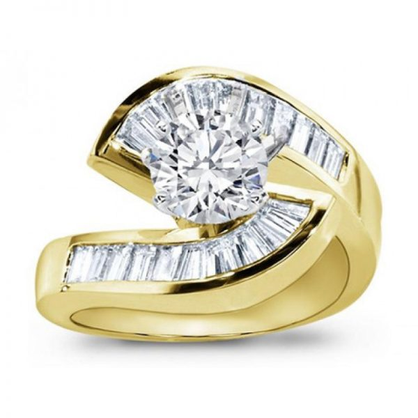 Gold Diamond Tension Engagement Setting