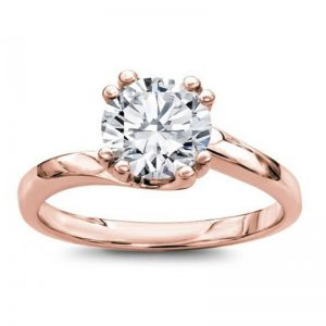Solitaire Swirl Rose Gold Engagement Setting