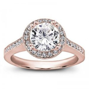 Round Halo Pave-Set Engagement Ring